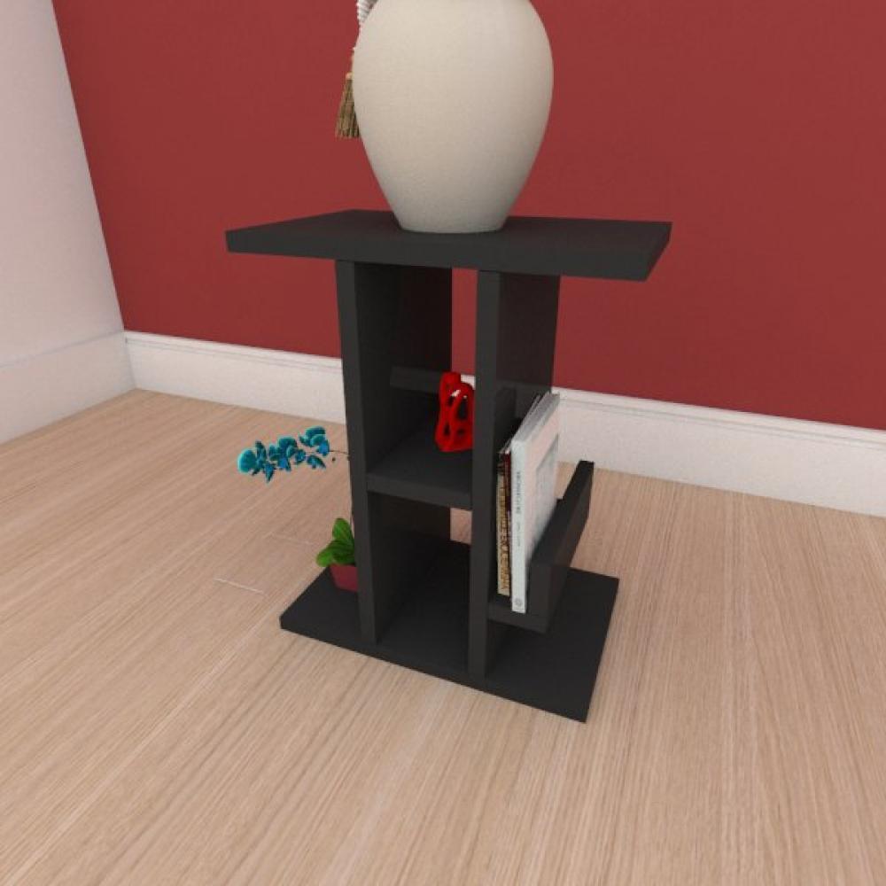 Mesa de cabeceira slim com prateleira em mdf preto