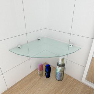 kit com 1 Prateleira para canto de vidro temperado para banheiro profundidade 30 cm