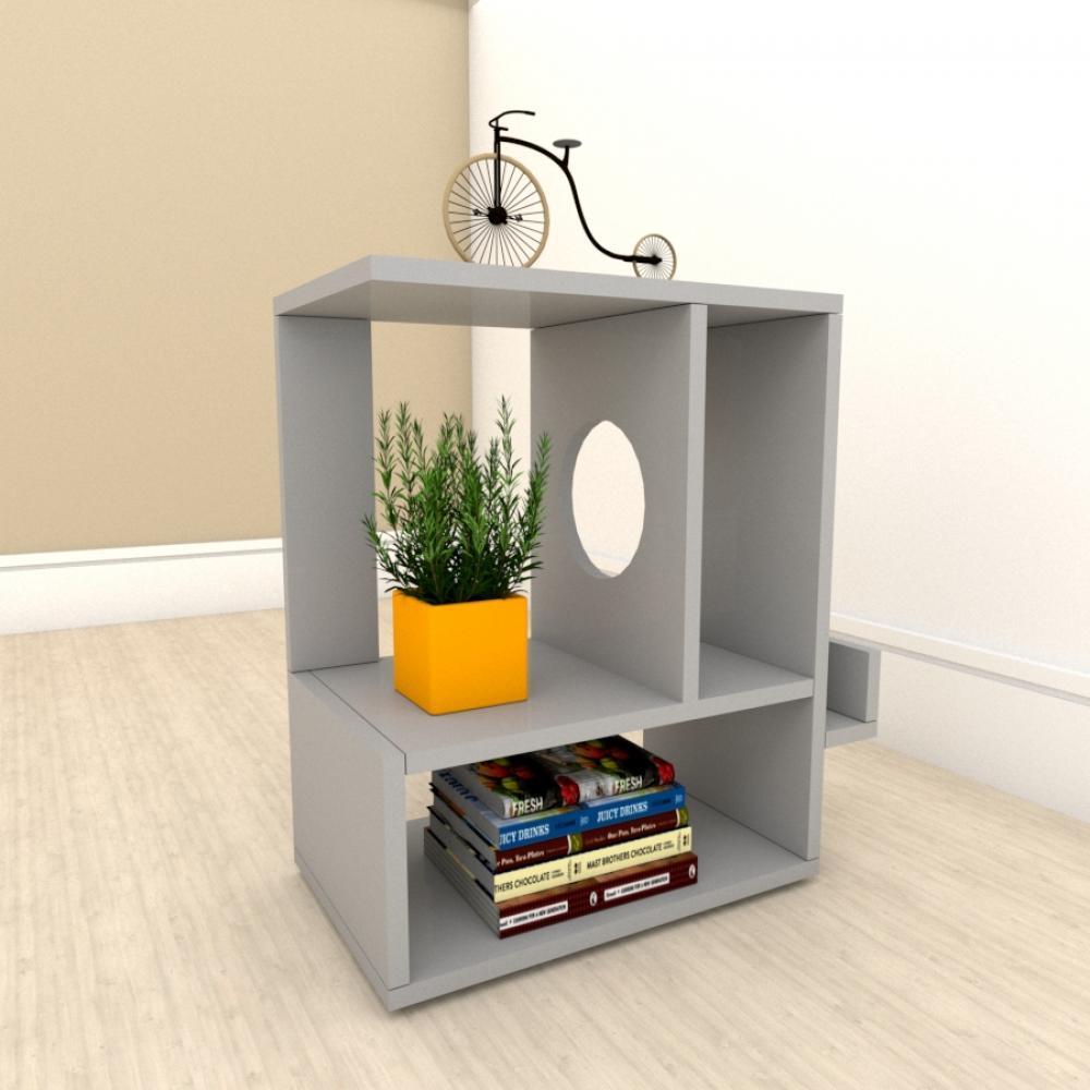 kit com 2 Mesa de cabeceira moderna com 3 niveis em mdf Cinza