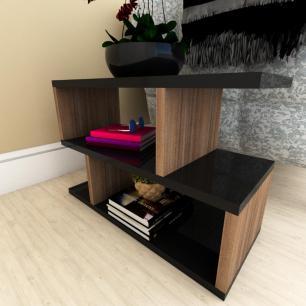 Kit com 2 Mesa de cabeceira preto com amadeirado escuro