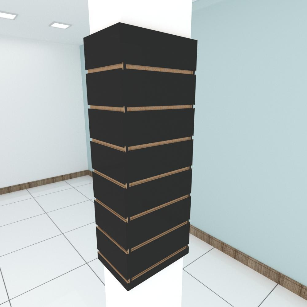 Kit 4 Painel canaletado para pilar preto 2 peças 24(L)x90(A) cm + 2 peças 30(L)x90(A) cm