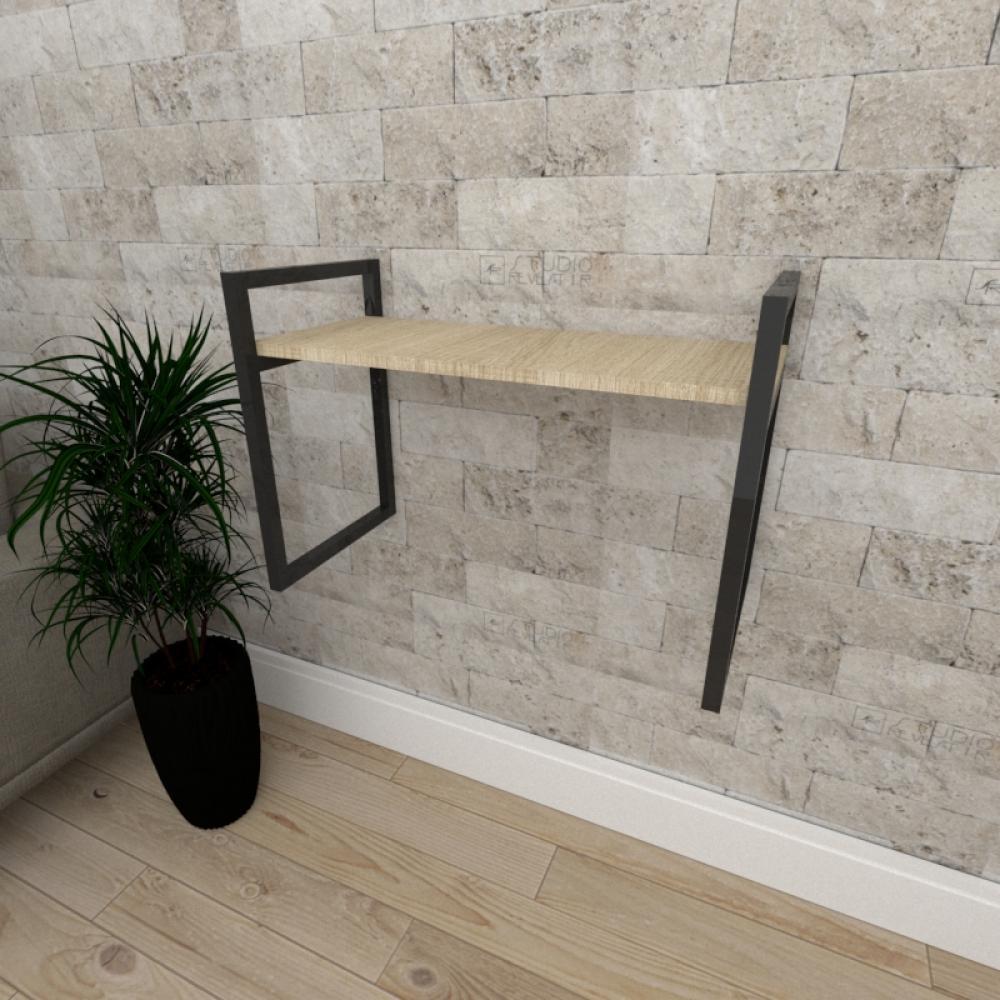 Mini estante industrial para escritório aço preto mdf 30cm cor amadeirado claro modelo ind03acep