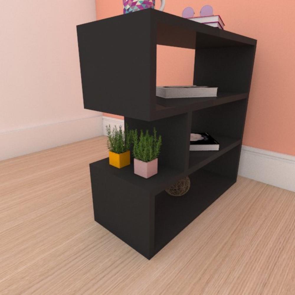 Mesa de cabeceira compacta tripla em mdf preto