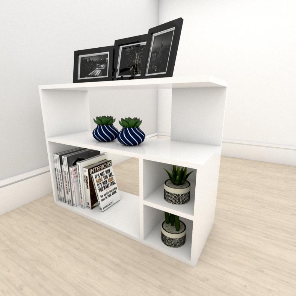 kit com 2 Mesa de cabeceira formato simples em mdf Branco