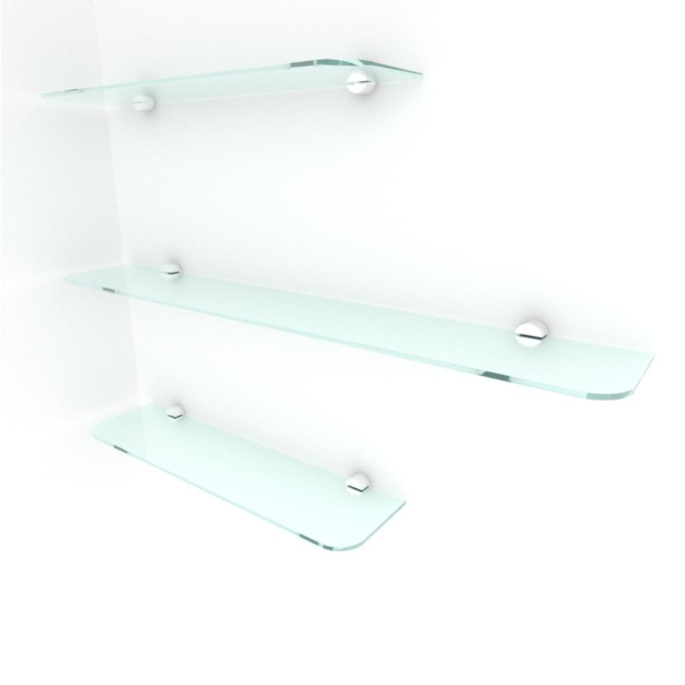 kit com 3 Prateleira de vidro temperado para sala 2 de 40(C)x8(P)cm 1 de 60(C)x8(P)cm