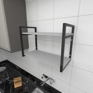Prateleira industrial para cozinha aço cor preto prateleiras 30 cm cor cinza modelo ind01cc