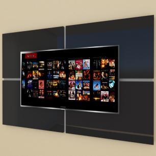 Painel Tv pequeno moderno preto com cinza