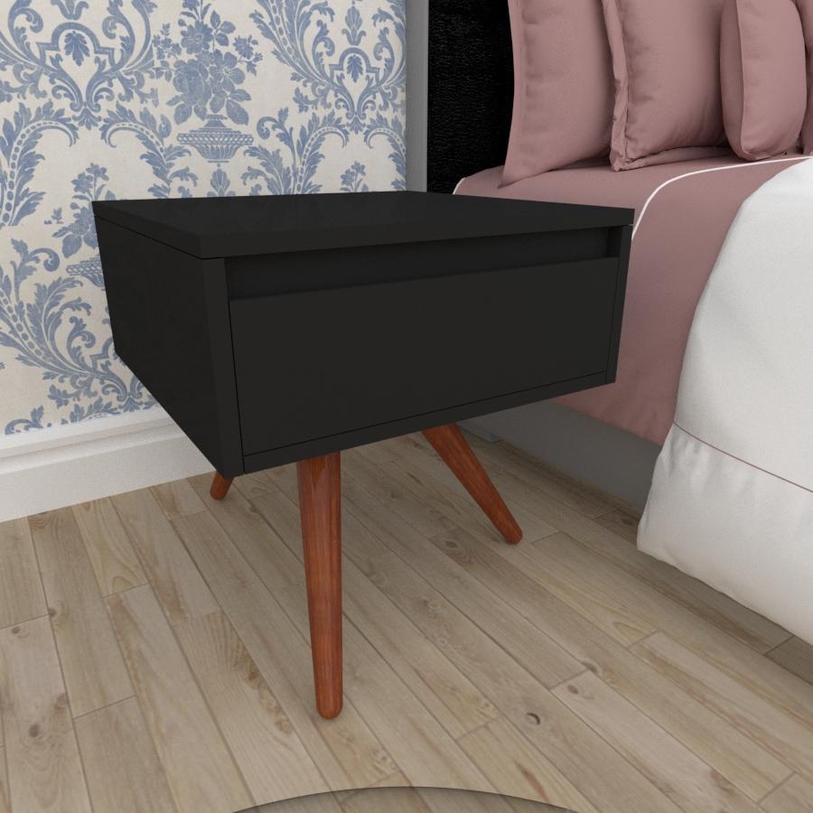 Mesa de Cabeceira com gaveta em mdf preto com 3 pés inclinados em madeira maciça cor mogno