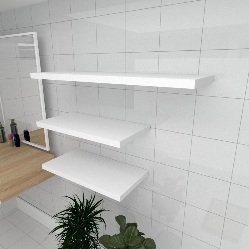 Kit 3 prateleiras banheiro em MDF sup. Inivisivel branco 2 60x30cm 1 90x30cm modelo pratbnb33