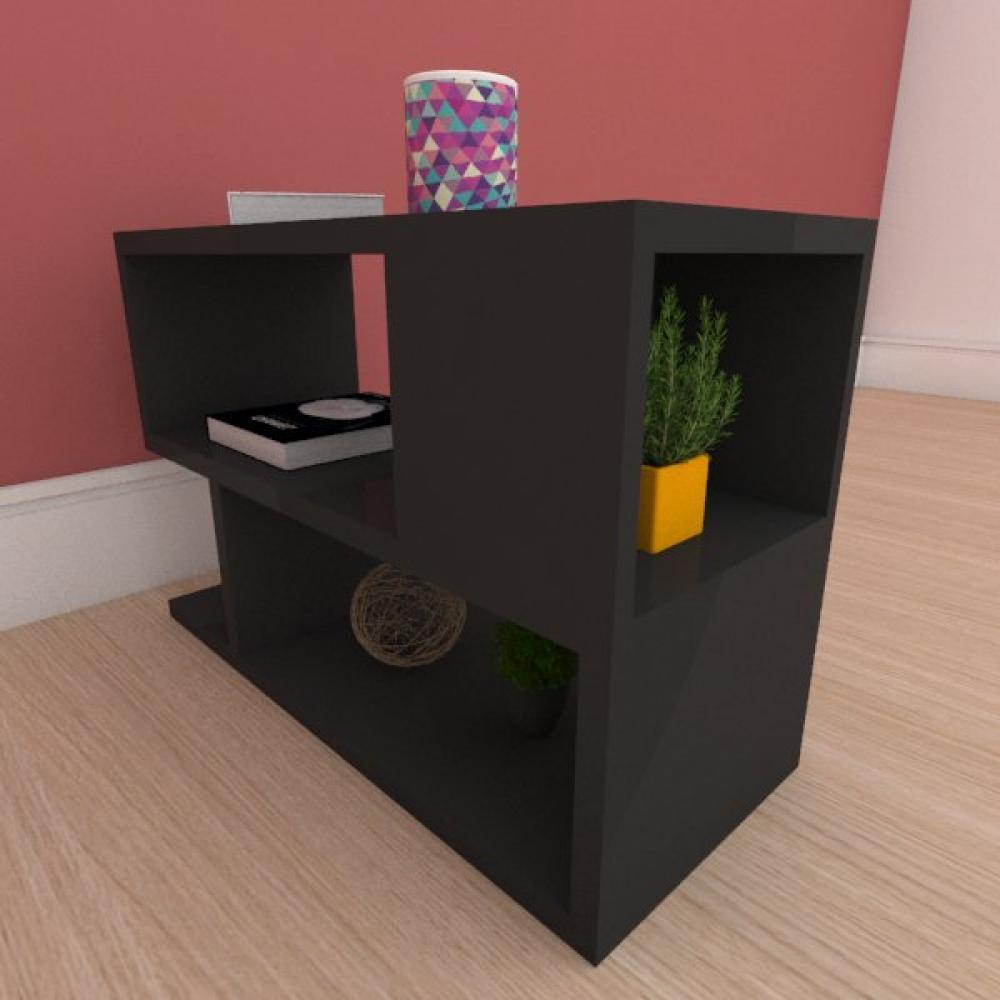 Mesa Lateral minimalista com nicho em mdf preto