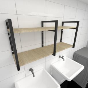 Prateleira industrial para lavanderia aço cor preto mdf 30cm cor amadeirado claro modelo ind22aclav