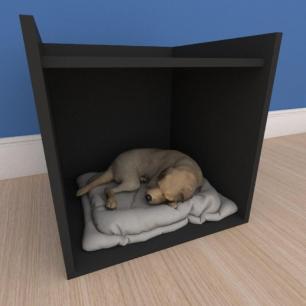 Caminha casinha pequeno cachorro em mdf preto
