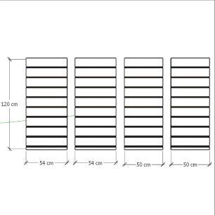 Kit 4 Painel canaletado para pilar cinza cristal 2 peças 54(L)x120(A) cm + 2 peças 50(L)x120(A) cm