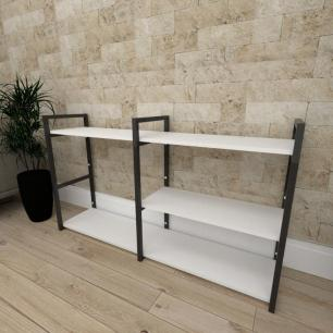 Mini estante industrial para sala aço cor preto prateleiras 30 cm cor branca modelo ind14beps