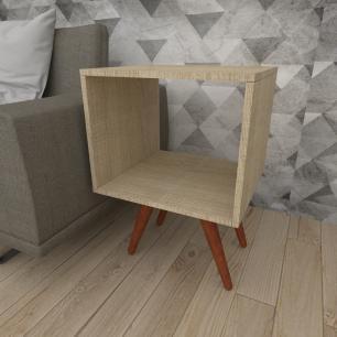 Mesa lateral nicho em mdf amadeirado claro com 4 pés inclinados em madeira maciça cor mogno