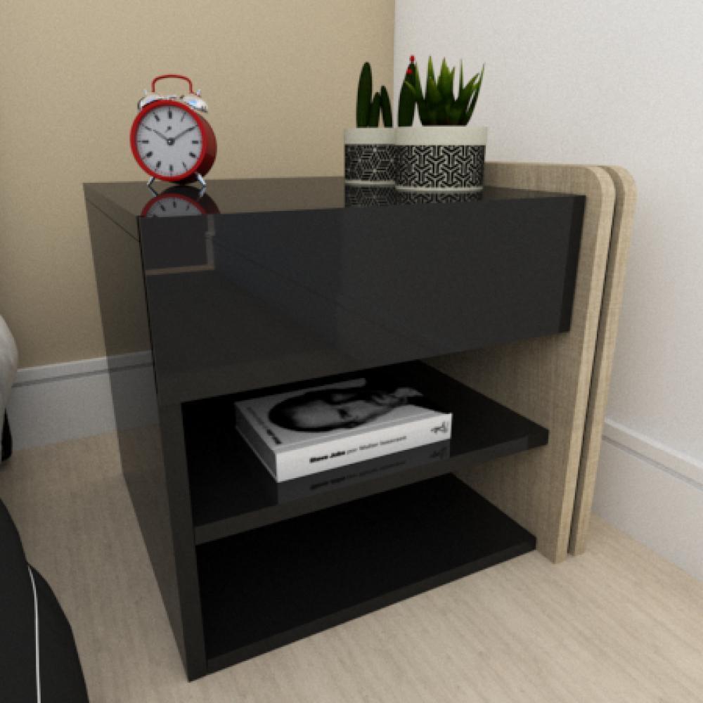 Mesa de cabeceira moderna amadeirado claro com preto
