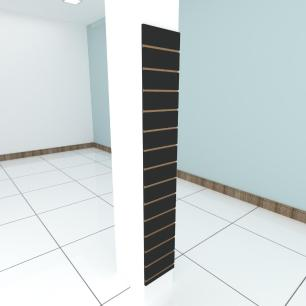Painel canaletado para pilar preto 1 peça 30(L)x180(A)cm