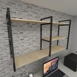 Prateleira industrial para escritório aço cor preto mdf 30 cm cor amadeirado claro modelo ind14aces