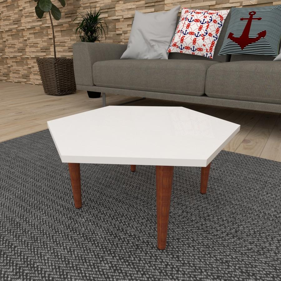 Mesa de Centro hexagonal em mdf branco com 4 pés retos em madeira maciça cor mogno