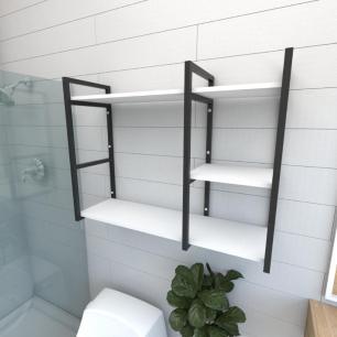 Prateleira industrial para banheiro aço cor preto prateleiras 30 cm cor branca modelo ind16bb