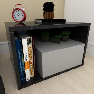 Mesa de centro moderna cinza com preto