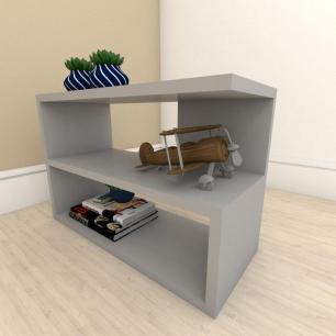 kit com 2 Mesa de cabeceira slim em mdf Cinza