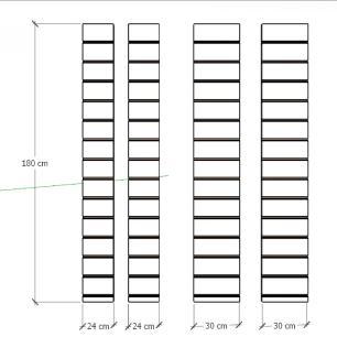 Kit 4 Painel canaletado para pilar amadeirado claro 2 peças 24(L)x180(A)cm + 2 peças 30(L)x180(A)cm