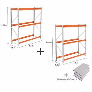 kit com 2  Mini Porta Pallet 2 Inicial 250KG Com 3 niveis 2,00X1,80X0,60 + kit band. branco