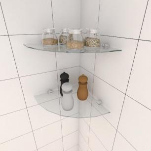 Kit com duas Prateleira para cozinha de canto 30 cm vidro temperado