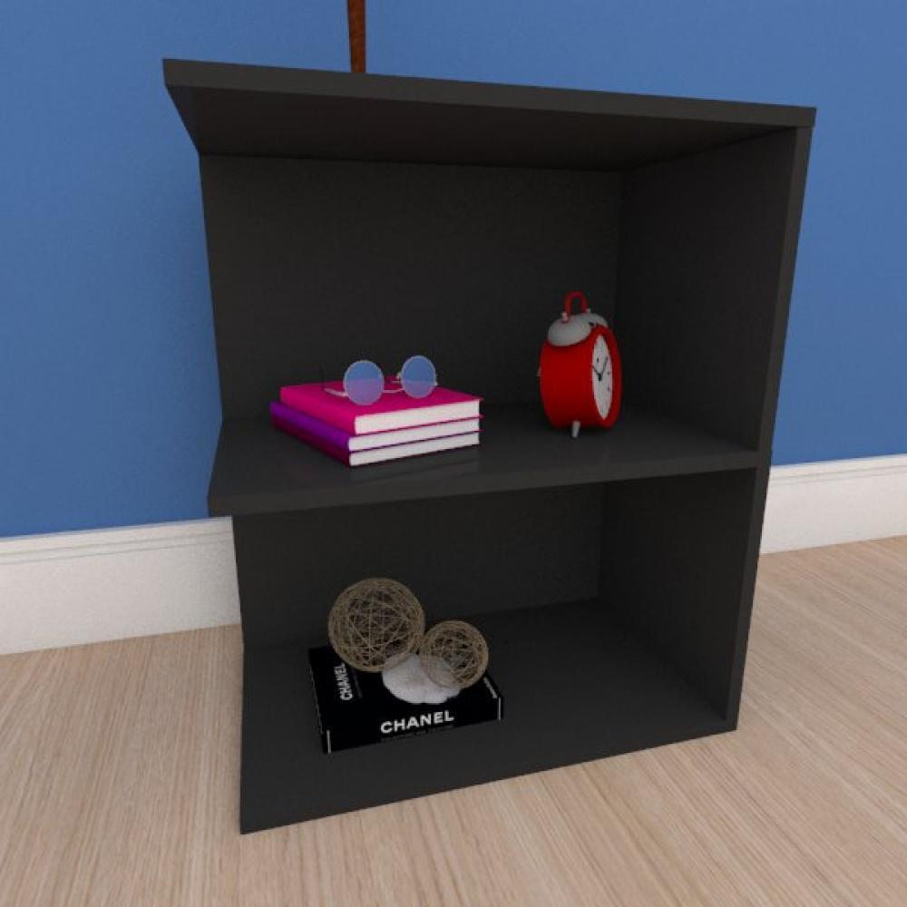 Estante de Livros compacta em mdf preto
