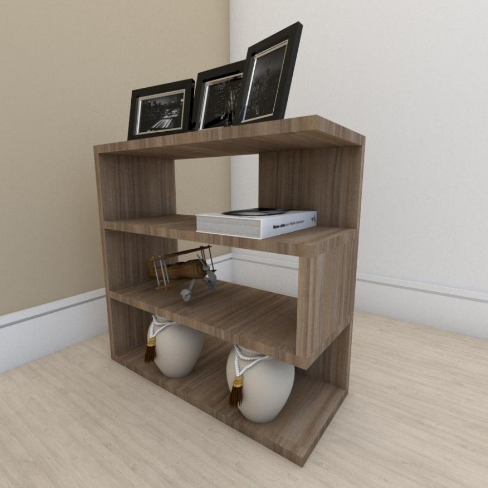 Estante escritório moderna com 3 niveis em mdf Amadeirado