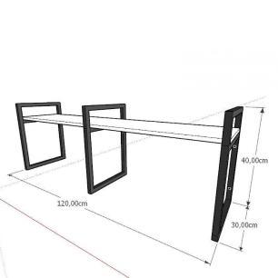 Prateleira industrial aço cor preto 30 cm MDF cor amadeirado escuro modelo indfb06aesl