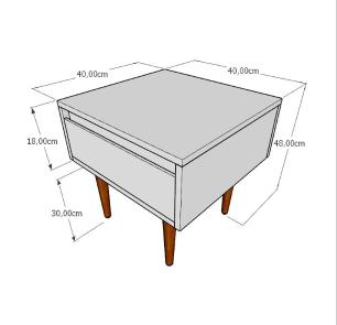 Mesa lateral com gaveta em mdf amadeirado claro com 4 pés retos em madeira maciça cor tabaco