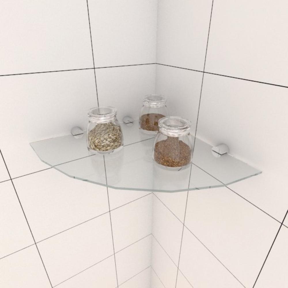 Kit com uma Prateleira para cozinha de canto 30 cm vidro temperado
