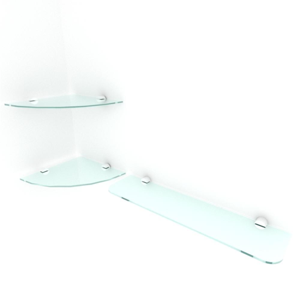 kit com 3 Prateleira de vidro temperado para sala 1 de 20 cm para canto e 2 de 40 cm reta