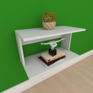 Mesa de cabeceira suspensa simples em mdf cinza