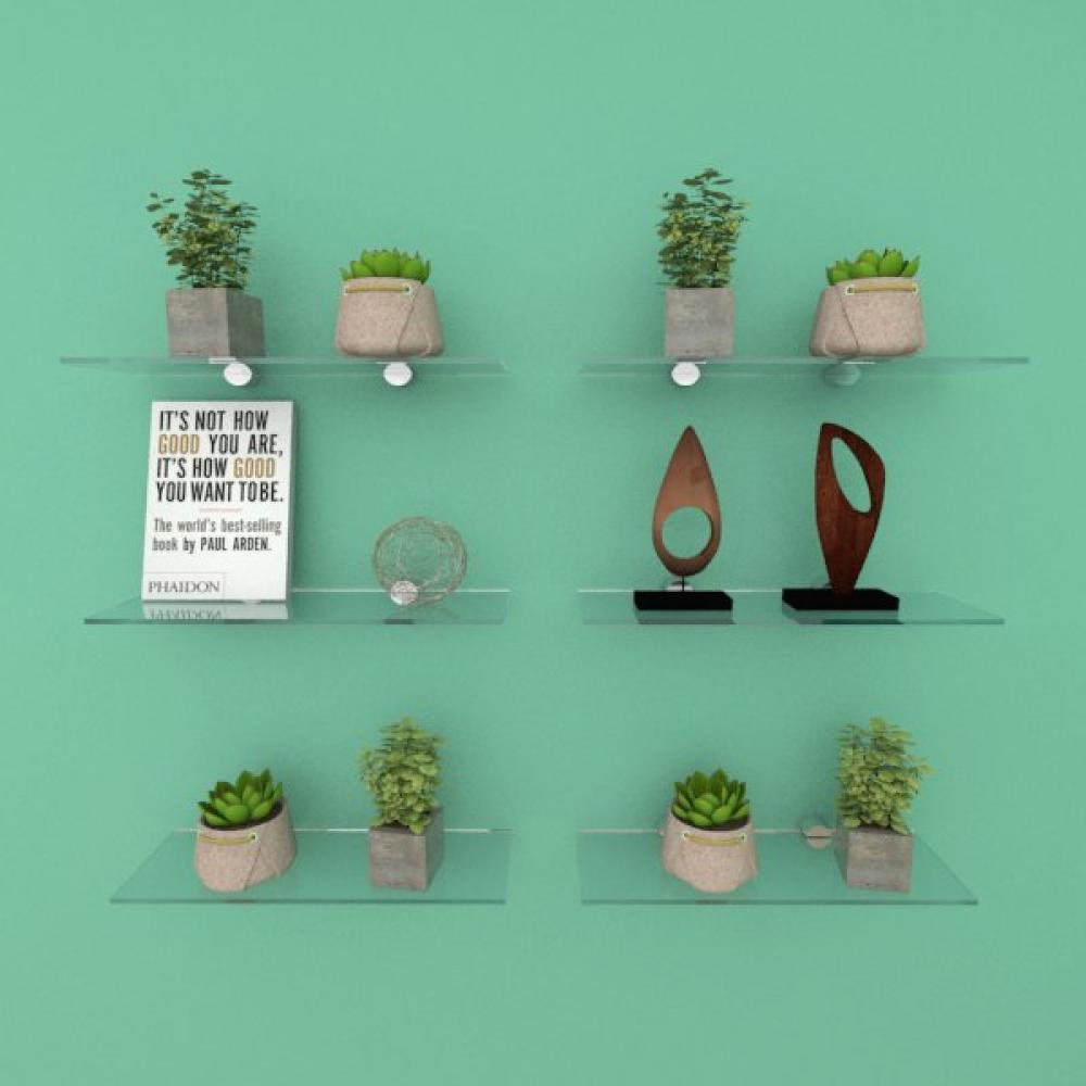 Kit com seis Prateleira para sala 30 cm vidro temperado