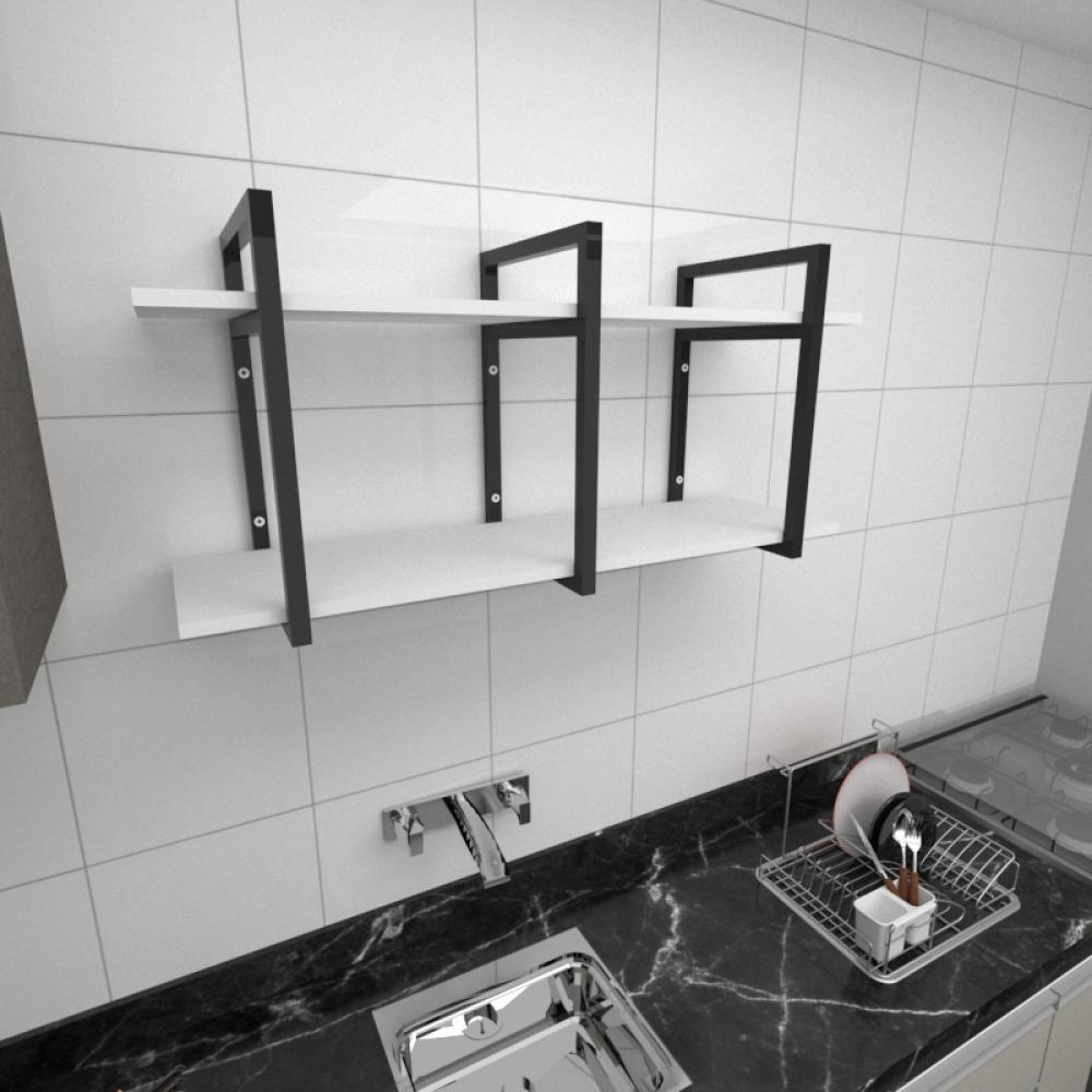 Prateleira industrial para cozinha aço cor preto prateleiras 30 cm cor branca modelo ind23bc