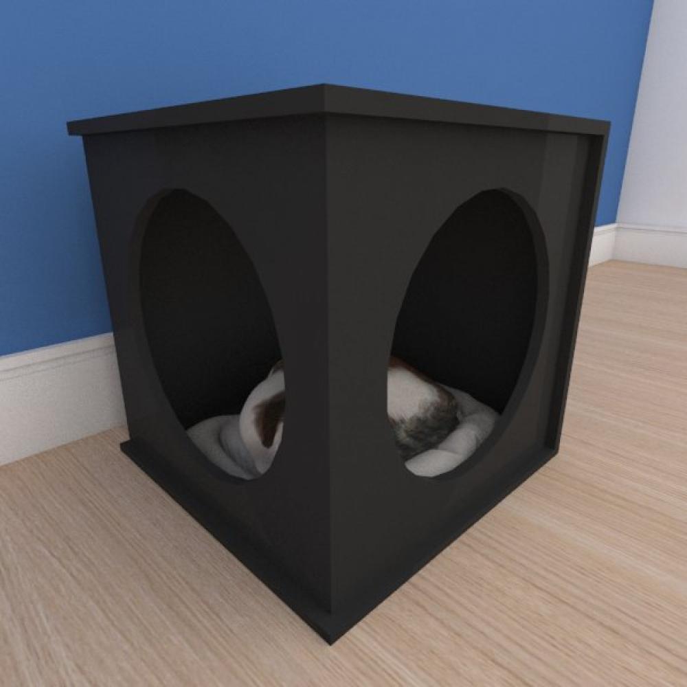 Caminha bercinho pequeno gato em mdf preto