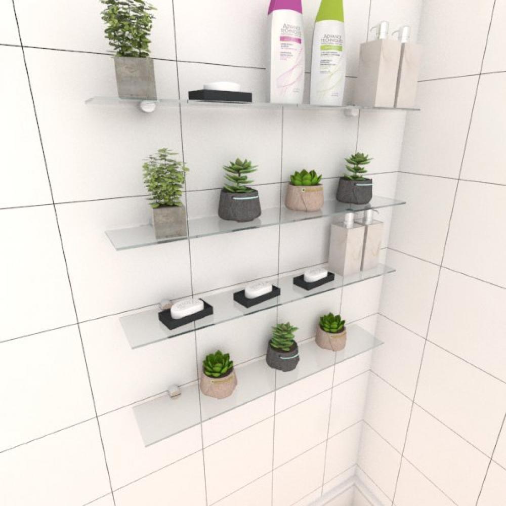 Kit com quatro Prateleira para banheiro 60 cm vidro temperado