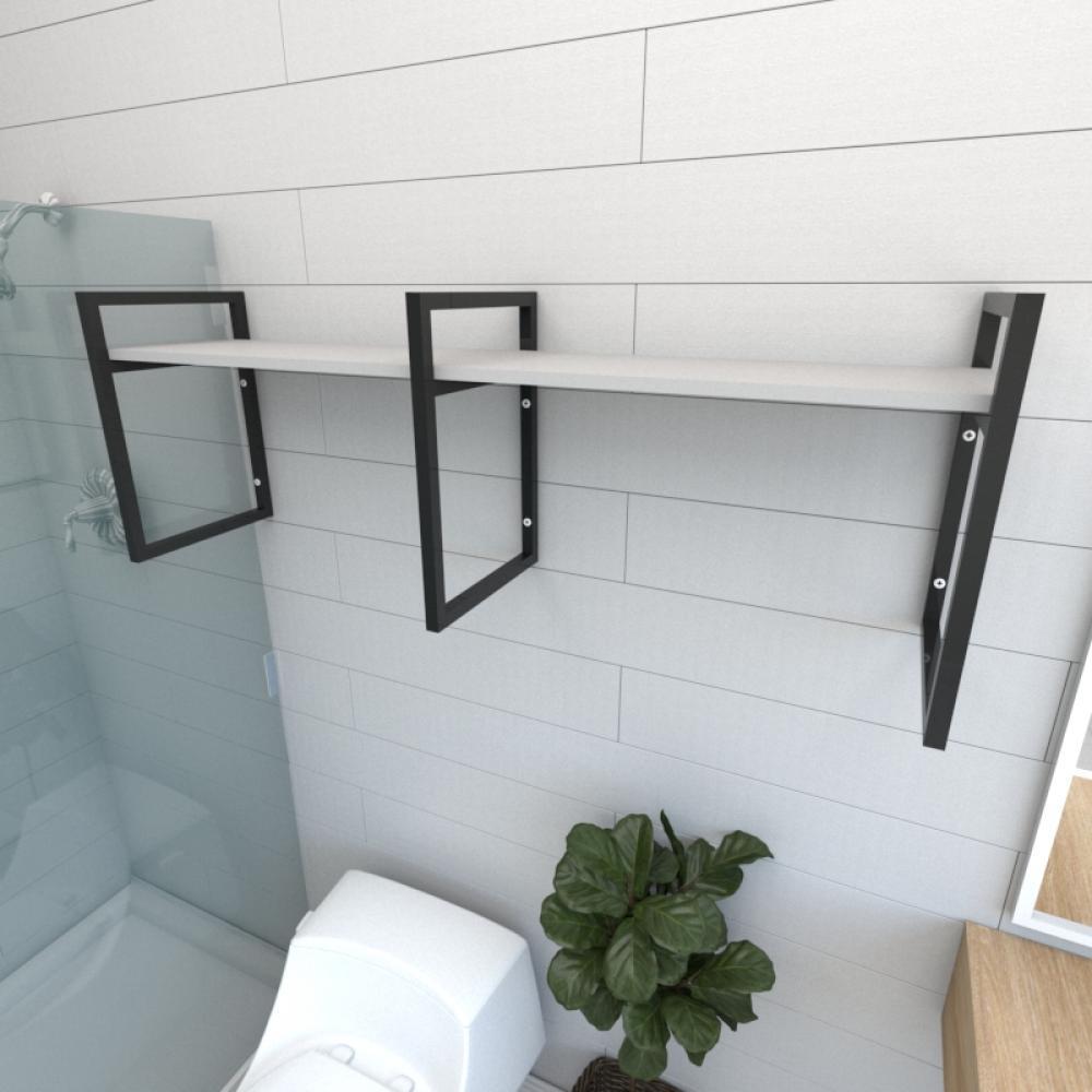 Prateleira industrial para banheiro aço cor preto prateleiras 30 cm cor cinza modelo ind06cb