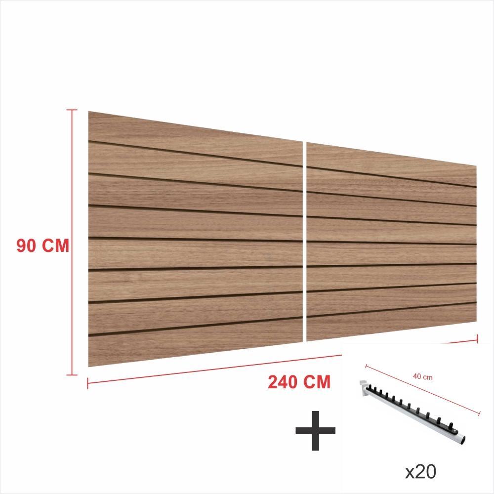 Kit Painel canaletado amadeirado alt 90 cm comp 240 cm mais 20 ganchos rt 40 cm para roupas