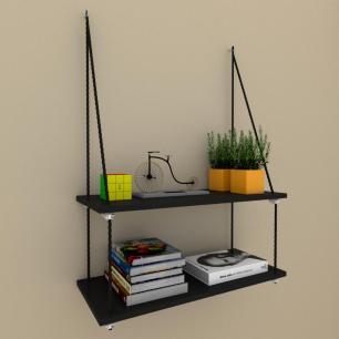 Prateleira moderna com cordas, 25x60 cm mdf preto