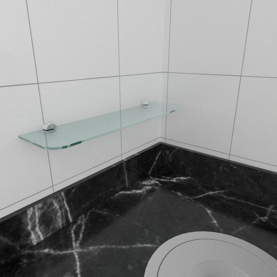 kit com 1 Prateleira de vidro temperado para cozinha 40(C)x8(P)cm
