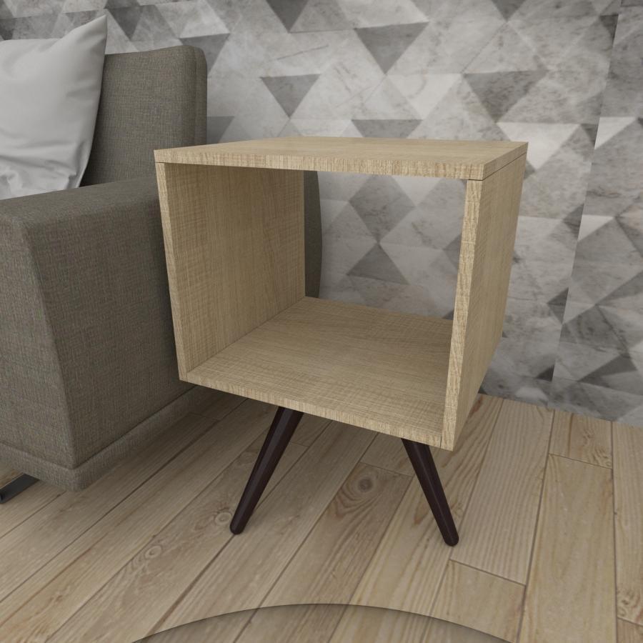 Mesa lateral nicho em mdf amadeirado claro com 3 pés inclinados em madeira maciça cor tabaco