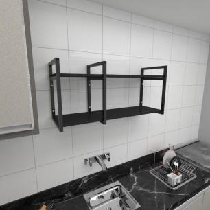 Prateleira industrial para cozinha aço cor preto prateleiras 30cm cor preto modelo ind19pc
