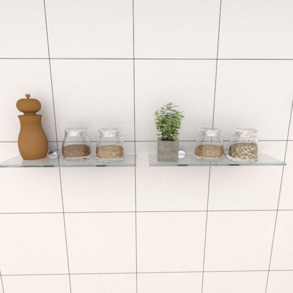 Kit com duas Prateleira para cozinha 30 cm vidro temperado