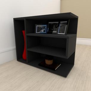 kit com 2 Mesa de cabeceira simples em mdf Preto