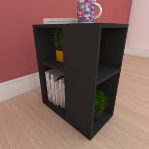 Mesa de cabeceira pequena com prateleira em mdf preto