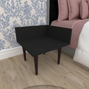 Mesa de Cabeceira simples em mdf preto com 4 pés retos em madeira maciça cor tabaco